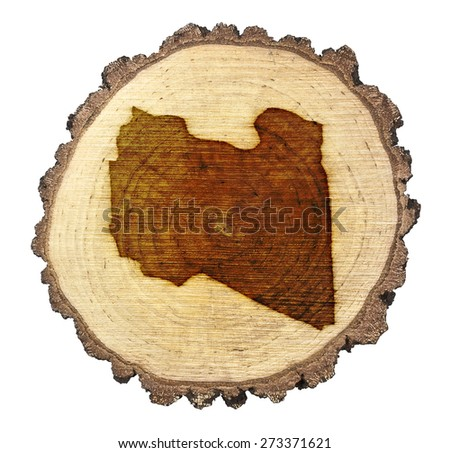 A slice of oak and the shape of Libya branded onto .(series) - stock photo