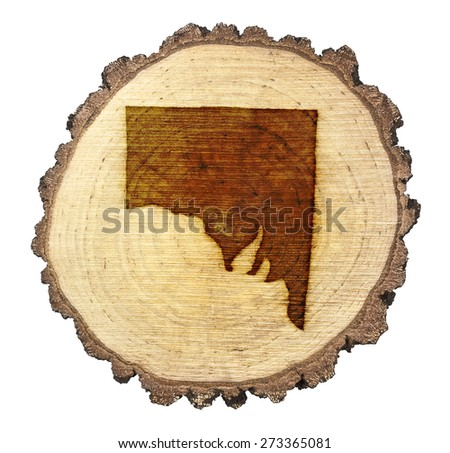 A slice of oak and the shape of Southern Australia branded onto .(series)