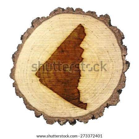 A slice of oak and the shape of Yukon branded onto .(series)