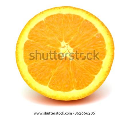 A slice of orange fruit isolated on white background - stock photo