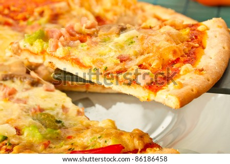a slice of pizza with vegetables, cheese and mushrooms