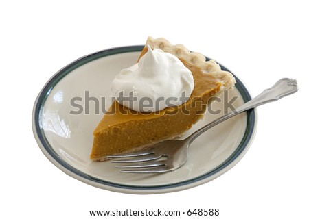 A slice of pumpkin pie on a plate with whipped cream and a fork, isolated.