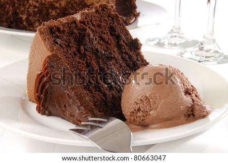 A slice of rich chocolate cake with a scoop of ice cream - stock photo