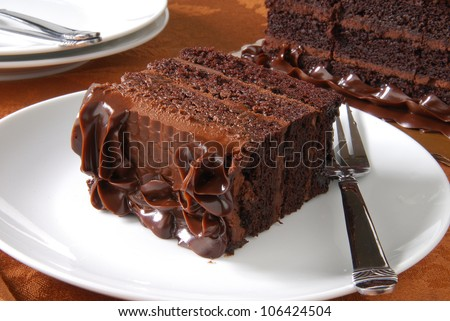 a slice of rich dark chocolate cake