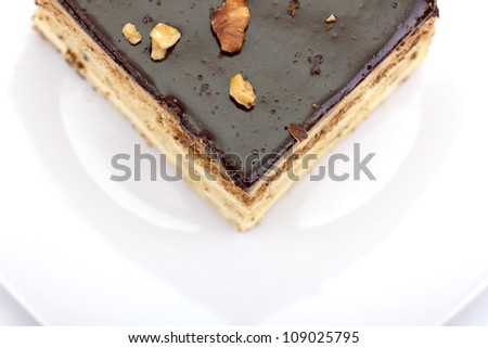 A Slice of Sponge Cake - A Top View. - stock photo