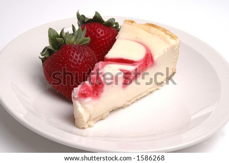 A slice of strawberry cheesecake and two strawberries.