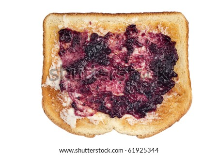 A slice of toasted white bread with butter and grape jelly spread.