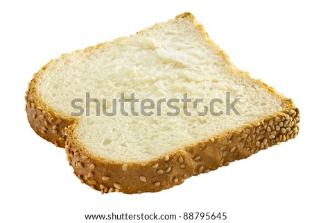 A slice of wheat bread on a white background. This has a clipping path.