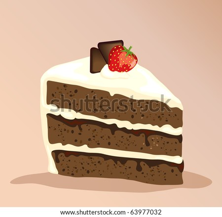 A slice of white and dark chocolate cake with a strawberry on top. Also available in vector format. - stock photo
