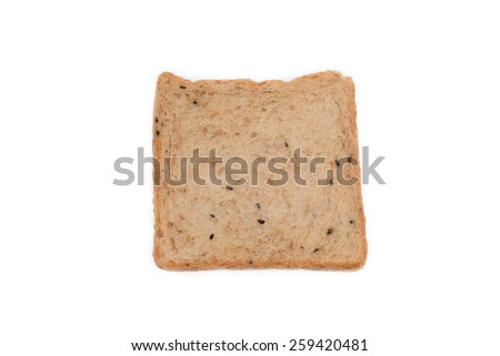 A slice whole wheat bread isolated on white background