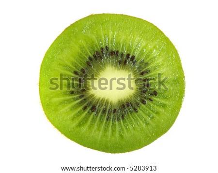 A sliced kiwi fruit, isolated on white - stock photo