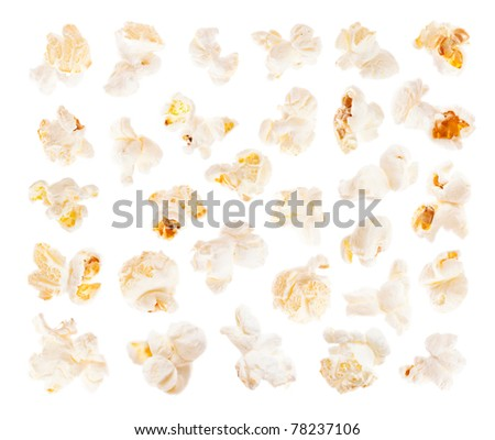 A slices of salted popcorn isolated on white background - stock photo