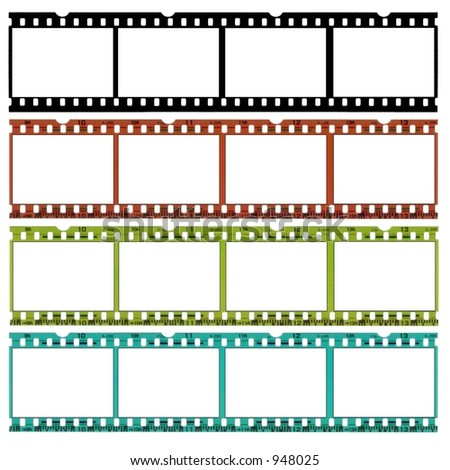 A slide of 35 mm film in b/w, original and two different colors,ideal for website borders! - stock photo