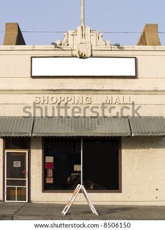 A slightly run down store front in the Pacific Northwest. - stock photo