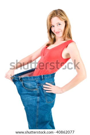 A slim young woman makes good diet