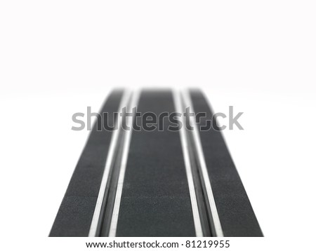 A slot car racing track isolated on a white background - stock photo