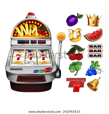 A slot fruit machine with cherry winning on cherries and Various slot fruit machine icons - stock photo