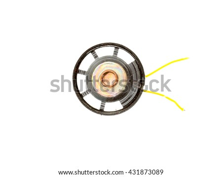 a small audio speaker on a white background - stock photo