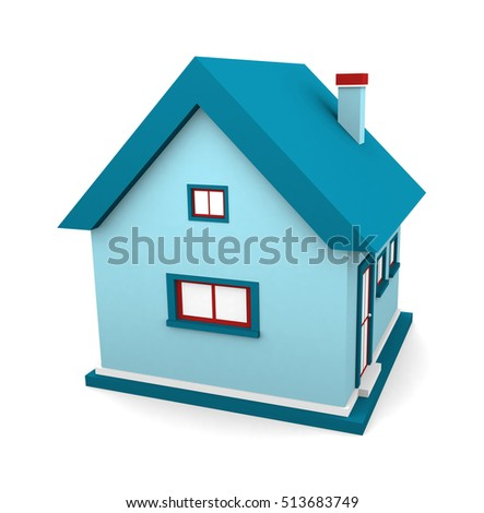 A small beautiful home isolated on white background. 3d render
