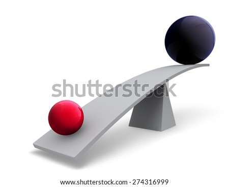 A small, bright gold sphere weighs one end of a gray balance beam down while a large dark gray sphere sits high in the air on the other end. Focus is on the gold sphere.  Isolated on white.  - stock photo