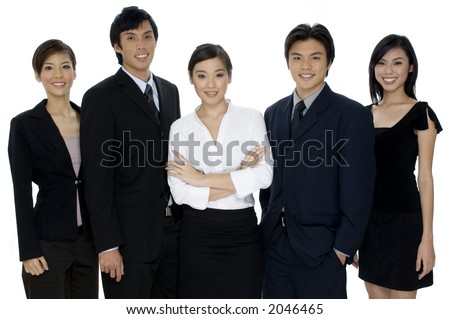 A small business team of young asian professionals on white background - stock photo