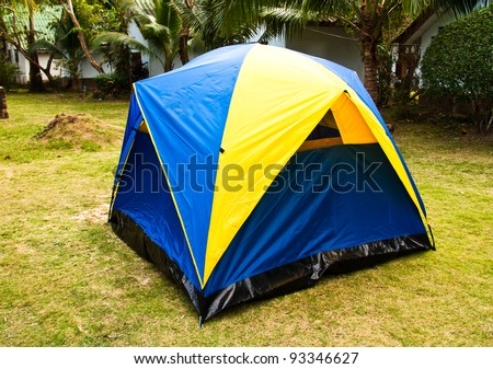 A small canvas tent is placed on the lawn at the resort. & Small-tent Stock Images Royalty-Free Images u0026 Vectors | Shutterstock