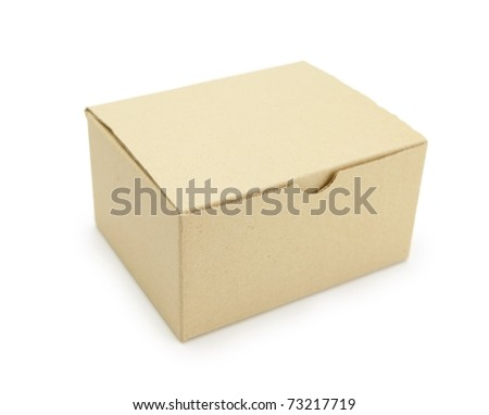 A small card board box, isolated on white. - stock photo