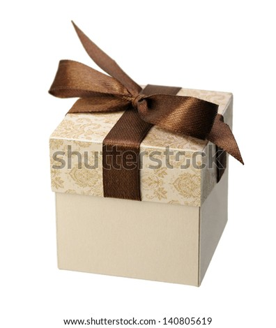 A small cardboard box for a gift on a white background, isolated - stock photo