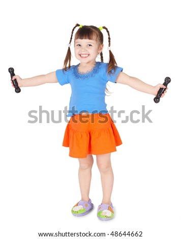 A small child is engaged in gymnastics isolated on a white background - stock photo