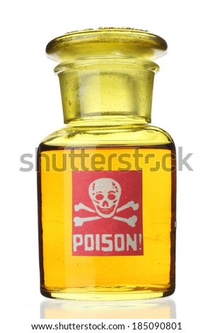 A small container of yellow liquid poisonous material. - stock photo