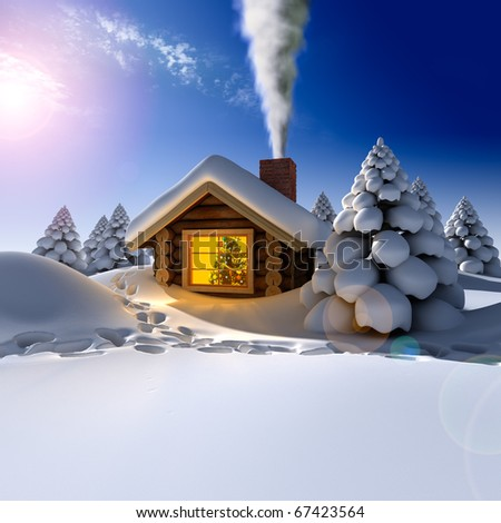 A small cottage in the fairy forest in snowy New Year's Eve. Around the hut on the snow trails - stock photo