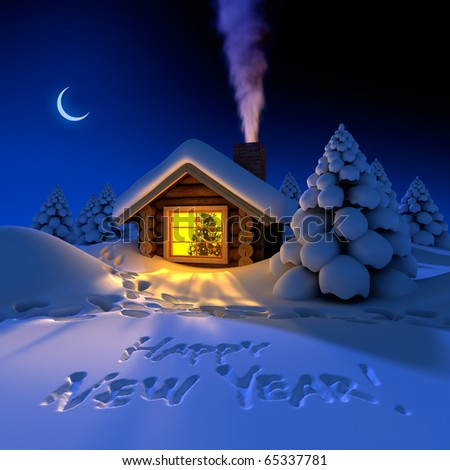 A small cottage in the fairy forest in snowy New Year's Eve. Around the hut on the snow trails and an inscription - a Happy New Year! - stock photo
