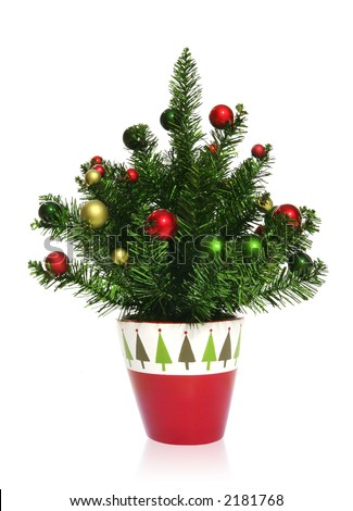 a small decorated christmas tree over white - Small Decorated Christmas Trees