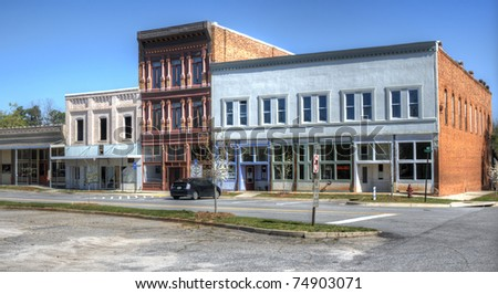 A small downtown area in Comer, Georgia, USA. - stock photo