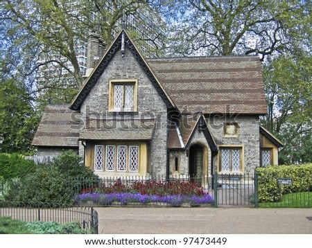 A small English house in Hide park in London - stock photo
