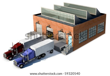 A small factory with a Cargo truck at a loading dock isolated on white - stock photo