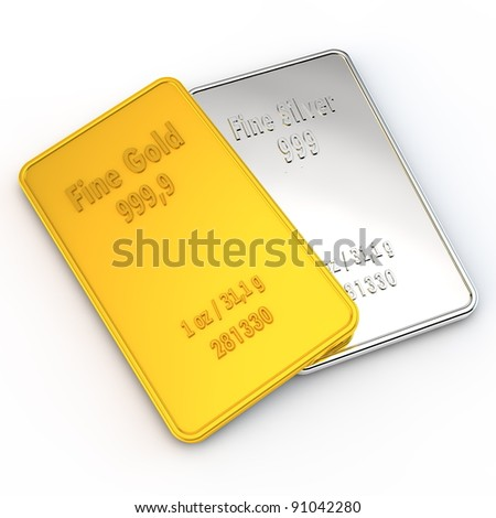 a small gold and a silver bar with the weigth of 1 ounce - stock photo