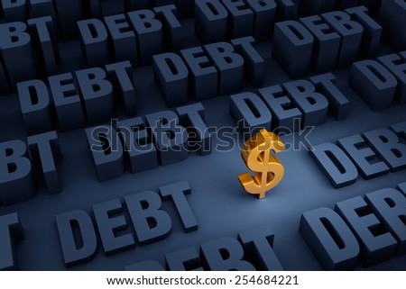 "A small, gold dollar sign stands in a dark background of gray ""DEBT"" rising up around it. - stock photo"