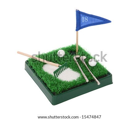 A small golf game set isolated over white - stock photo