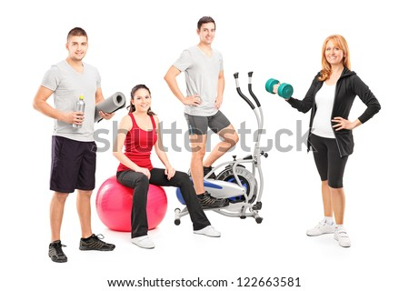 A small group of athletes posing with a fitness equipment isolated on white background