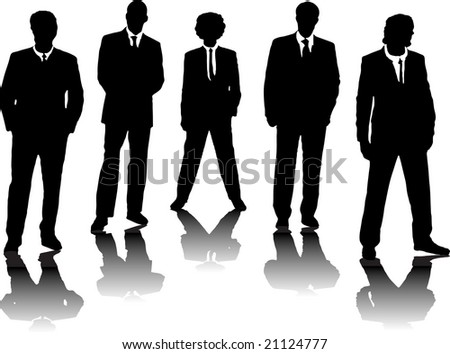 A small group of business people in black silhouette - stock photo