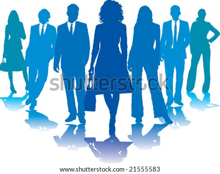 A small group of business people in blue silhouettes - stock photo