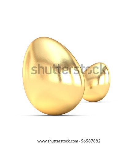 a small group of golden eggs on a white background