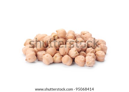 A small handful of chick-pea. Beans isolated on a white background. Close-up. - stock photo