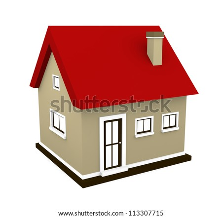 A small house isolated on white. 3d render - stock photo