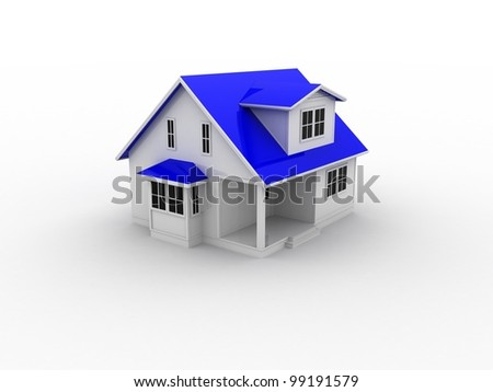 A small house with blue roof on a white background - stock photo