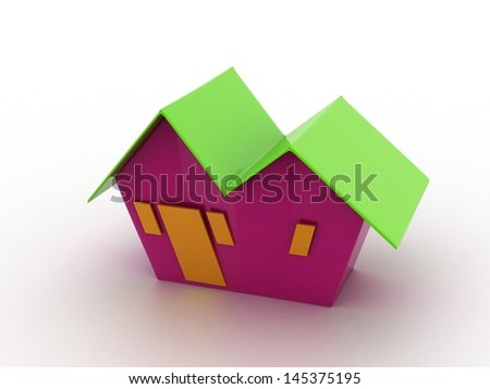 A small house with green  roof on a white background - stock photo