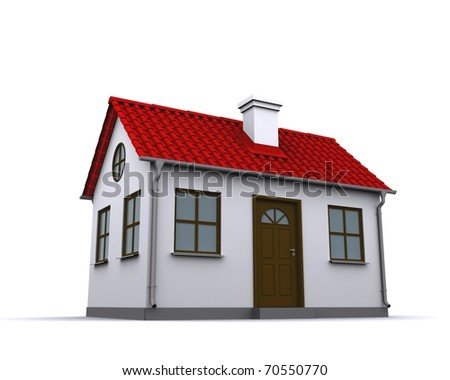 A small house with red roof on a white background - stock photo
