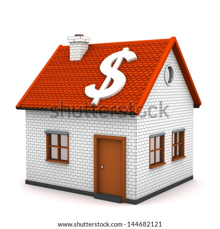 A small house with white symbol of dollar. White background.