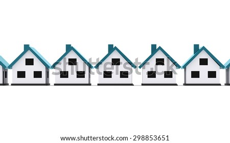 A small houses business icon with blue roof on a white background - stock photo
